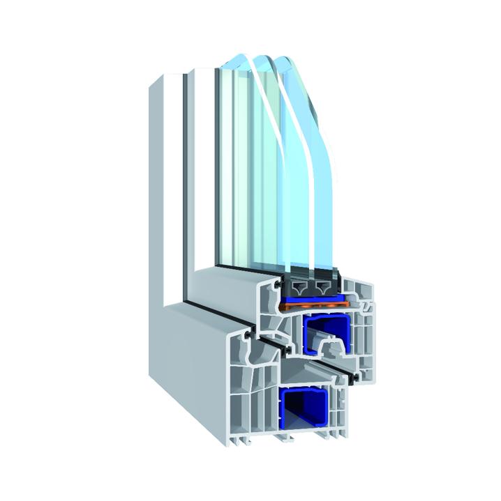 Монтажная ширина рамы 92мм  (5-и камерный) С тройным контуром уплотнения, что повышает теплоизоляционные свойства окна